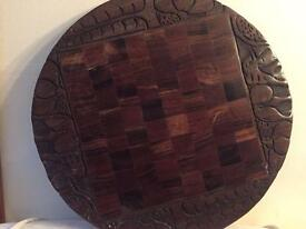 African Wooden Carved Side Table Top Top Only