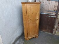 "Rustic old pine corner unit, ideal for kitchen storage. 62"" height."