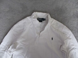 Ralph Lauren White Long Sleeved Cotton Polo Shirt Size S