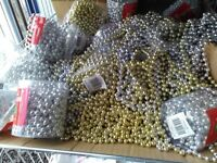 bead garlands, gold and silver approx 20 packs , but are loose out of packet most of them