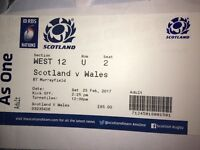 2x Scotland V Wales rugby tickets - 25th February 2017
