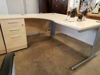 Curved office desk with 3 drawers