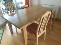 Solid beech dining table & 4 chairs