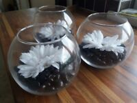 3 Glass Fish Bowl with black pebbles and white flower