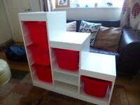 Ikea 3 tier large white shelving unit, lots of flexible storage, boxes included, very good condition