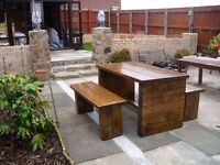 HAND MADE BEDS,TV UNIT,CHAIRS,SIDEBOARD,COFFEE/DINING TABLES,DRESSERS,GARDEN&PATIO BENCHES FROM £49