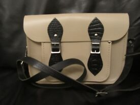 "Cambridge Satchel Company 13"" cream with black snake details LIKE NEW - GENUINE"