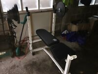 Olympic weight bench and bar with 75kg of weight.