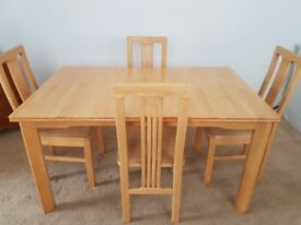 Solid Wood Extendable Dining Table and 4 Matching Chairs