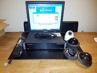 DEDICATED MICROS ECOSENSE CCTV DVR DM/ECS1 (NETVU) with cameras power supply and monitor