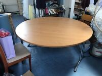 Folding Beech Round Office Conference Table Splits into 2 separate tables