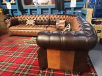 Stunning NEW Chesterfield Corner Suite 3 Seater & 2 Seater in Tan Brown Leather - Uk Delivery