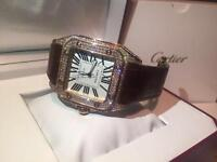 Cartier Santos 100 Gold Diamonds New