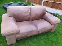 tan brown leather sofa armchair pouffe suite