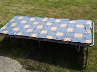 Two folding camp-style beds, suit frame tent, etc