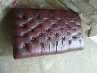 VINTAGE CHESTERFIELD BURGANDY / OXBLOOD LEATHER FOOTSTOOL 36INCH LONG 22INCH WIDE 12INCH TALL £65