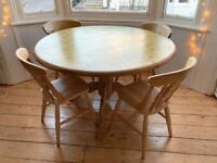 Pine circular table with matching chairs