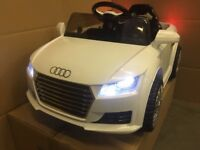 AUDI TT WHITE, KIDS 12v RIDE IN CAR with REMOTE CONTROL