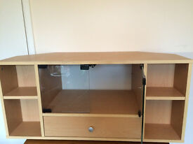 Maple effect TV stand with glass doors