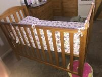 Baby pine cot with mattress