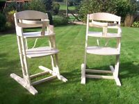 John Lewis Babydan natural wood adjustable high chair.