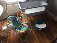 Next to Me Crib, Fisher Price Rainforest Swing and Bumbo Seat