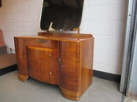 VINTAGE LEBUS WALNUT VENEER THREE DRAWER KIDNEY SHAPED DRESSING TABLE WITH MIRROR FREE DELIVERY
