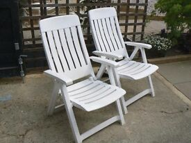 Two reclining garden chairs