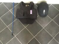 Horse riding helmet,whip and body protector