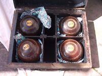 Vintage Lignum Vitae Bowls, Set of 4. See Ad & Pics for more details.