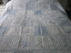 PALE BLUE PATCHWORK THROWOVER BHS VINTAGE MAISON 200CM X 220CM NEEDS TO BE SEEN TO SEE TRUE EFFECT