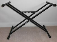 DOUBLE-BRACED, HEIGHT-ADJUSTABLE KEYBOARD STAND. BRAND NEW AND BOXED.