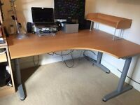Ikea Galant corner desk/table with shelf and cable tidy