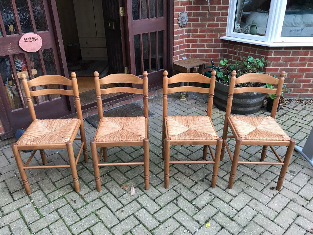 Attractive Set of Pine & Whicker Kitchen/Dining Chairs