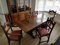 Solid Oak Dining Room Suite. Extendable Dining Table, 6 Chairs, Sideboard and Display Cabinet.
