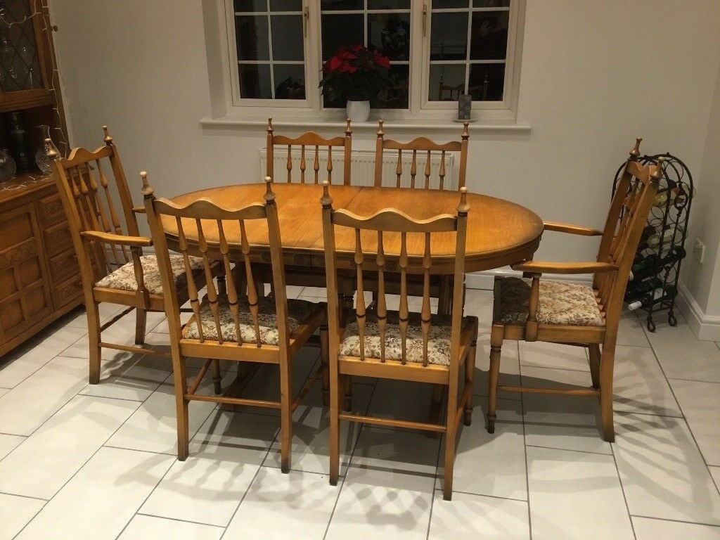 Light Oak Dining Table Six Chairs And Matching DresserTable Extends From 5
