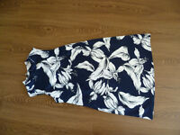 £5 Dress / Tunic Long Top, NEW no tags,Dark Navy blue and white, floral,high neck,zipped back, F & F