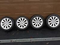 """4 x 17"""" Audi Alloy Wheels- with 2 winter tyres fitted"""