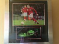 Wayne Rooney signed, box framed football boot