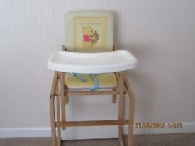 Childs convertable wooden high chair made by East Coast