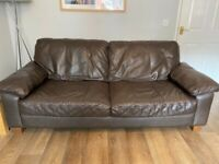 2 leather sofas and storage footstool