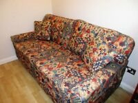Relyon double sofa bed in multi aztec pattern plus extra cushions and arm covers