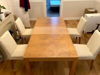 Big Wooden Dining Table with 4x Chairs