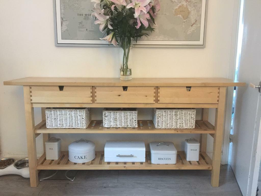 Ikea norden kitchen side table console with drawers