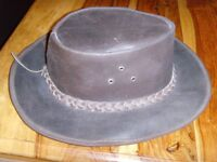 Mens brown faux leather hat