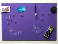 Naga 40 x 60cm Magnetic Glass Writing Board - Purple - excellent condition