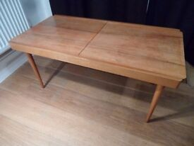 1950's Formica Beech Extending coffee occasional table Mid Century Modern Astro Legs