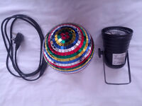 Multi colour mirror ball and 30V spotlight with cable