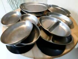 Stainless steel serving platters.