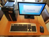 Windows 7 64Bit Packard Bell Small Desktop computer with monitor keyboard and mouse